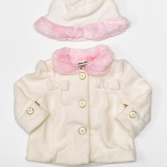 Little Lass Other - Little Lass Baby GIrl Pink Faux Fur w/ Hat